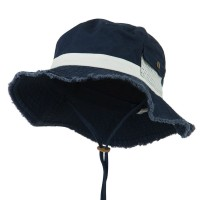 Outdoor - Navy White Big Size Cotton Washed Bucket