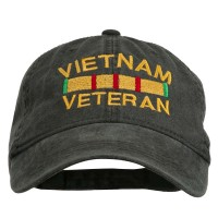 Embroidered Cap - Black Vietnam Embroidered Brass Cap
