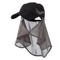 Flap Cap - Black UV 50+ Folding Bill Flap Cap
