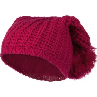 Beanie - Hot Pink Fall Back Pom Pom Knit Hat