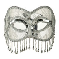 Face Mask - Silver Fringed Lace Eye Mask