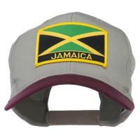 Embroidered Cap - Maroon Khaki Jamaica Flag Two Tone Patched Cap