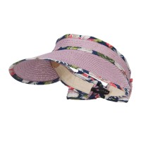 Visor - Mauve Floral Edge Roll Up Sun Visor