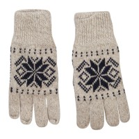 Glove - Oatmeal Wool Snowflake Design Glove