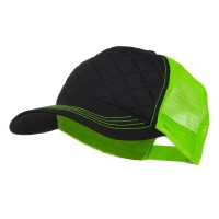 Ball Cap - Black Neon Green Quilted Trucker Neon Mesh Cap