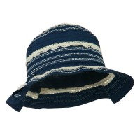 Bucket - Navy Girl's Bucket Hat Lace Detail