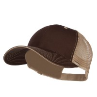 Ball Cap - Brown Beige Big Size Washed Cotton Mesh Cap