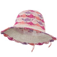 Dressy - White Pink Girl's Scallop Designed Hat