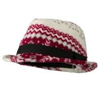 Fedora - Red White Girls Acrylic Blend Fedora