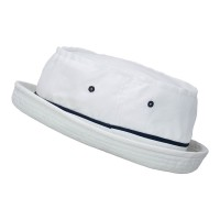 Bucket - White Navy Sky Big Size Roll Up Bucket Hat