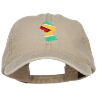 Embroidered Cap - Khaki Guyana Map Flag Embroidered Cap