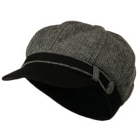 Newsboy - Grey Wool Herringbone Newsboy Cap