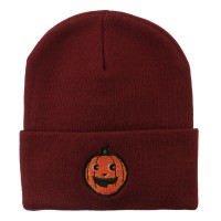 e4Hats.com: Halloween Happy Pumpkin Face Embroidered Long Beanie - Maroon