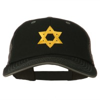 Embroidered Cap - Black Grey Jewish Star Embroidered Cap