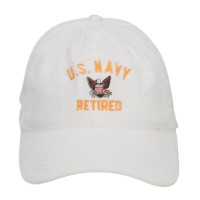 Embroidered Cap - White US Navy Retired Embroidered Cap