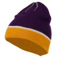 Beanie - Purple Gold Jacquard Striped Knit Beanie