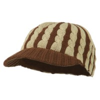 Cadet - Camel Two Tone Cable Knit Military Cap
