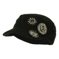 Cadet - Black Knit Military Cap Circle Motifs