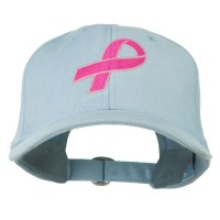 Embroidered Cap - Powder Ribbon Breast Cancer Embroidered Cap