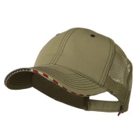 Ball Cap - Khaki 6 Panel Mesh Flag Mesh Cap