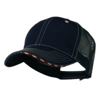 Ball Cap - Navy 6 Panel Mesh Flag Mesh Cap