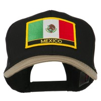Embroidered Cap - Khaki Black Mexico Flag Patched Cap