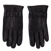 Glove - Black Men's Leather Glove Knit