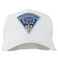 Embroidered Cap - White Massachusetts Police Patch Cap