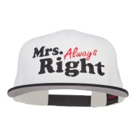 Embroidered Cap - Black White Mrs Always Right Mesh Snapback