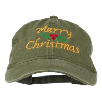 Embroidered Cap - Olive Green Mistletoe Embroidered Dyed Cap
