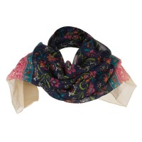 Scarf, Shawl - Cream India Motif Summer Scarf