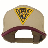 Embroidered Cap - Maroon Khaki New Jersey Police Patched Cap