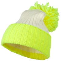 Beanie - Neon Yellow Neon Knit Hat with Pom Pom