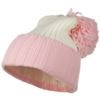 Beanie - Pink Neon Knit Hat with Pom Pom
