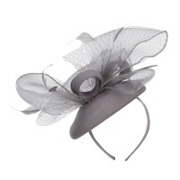 Dressy - Grey Horsehair Net Crown Fascinator