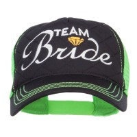 Embroidered Cap - Black Neon Green Team Bride Embroidered Neon Cap