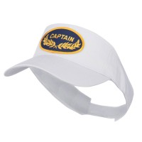 Visor - White Captain Military Patched Sun Visor