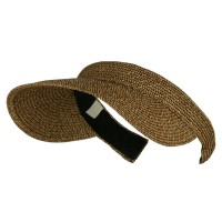 Visor - Brown Black UPF 50+ Paper Braid Clip On Visor