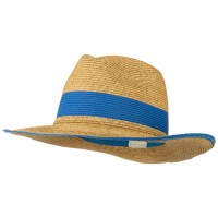 Western - Blue Braided Straw Panama Hat