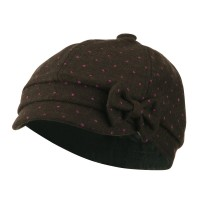 Newsboy - Brown Girl's Polka Dots Bow Cabby Cap