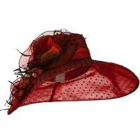 Dressy - Red Polka Dot Flower Organza Hat
