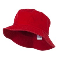 Bucket - Red Khaki Cotton Bucket Hats Plaid Trim