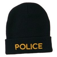 Beanie - Navy Police Embroidered Long Beanie