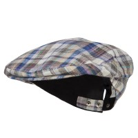 Newsboy - Beige Men's Plaid Linen Button Ivy Cap