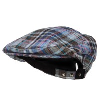 Newsboy - Blue Men's Plaid Linen Button Ivy Cap