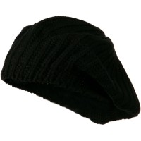 Beret - Black Plain Knit Beret