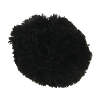 Pin , Badge - Black Pom Pom Yarn Alligator Clip