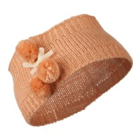 Band - Peach Knit Headb, 3 Pom Pom