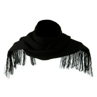 Scarf, Shawl - Black Super Stretch Fringed Scarf