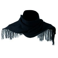 Scarf, Shawl - Navy Super Stretch Fringed Scarf